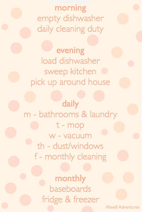 cleaning schedule   Atwell Adventures